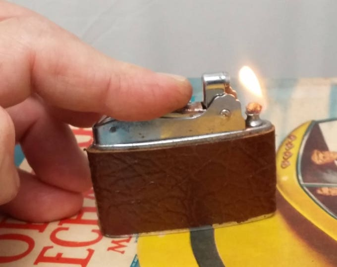 Featured listing image: 1950s CORONET Japan Automatic Lighter - Rehabbed, working, New Leather Wrap