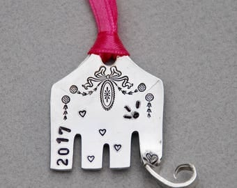 Elephant ORNAMENT 2017 // Recycled Large FORK hand stamped // eyelashes and beautiful patter