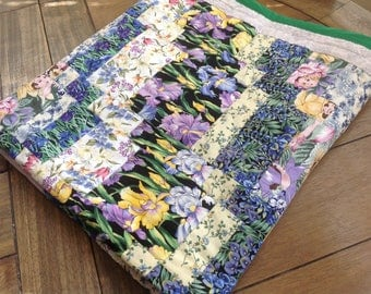 Pretty Floral Iris Handmade Quilt with Old Fashioned Girls in Bonnets and Gray and white trim with green border Back is a Green Ivy