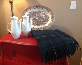 FREE SHIPPING James Pringle Weavers Plaid wool Blanket in a Lovely Blue and Green Plaid with White Stripe