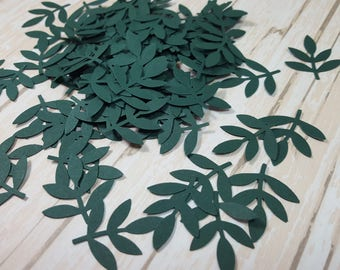 50 Green Fern Leaf punch die cut confetti scrapbook embellishments, Mix and Match