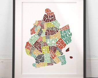 Brooklyn typography map, brooklyn map art, brooklyn neighborhoods print, brooklyn new york art, brooklyn gift, hand drawn typography series