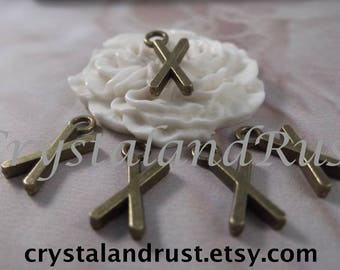 "5 Letter ""X"" Antique Bronze Charms --- Antique Bronze Color"