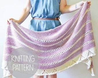 FLASH SALE KNITTING Pattern knit spring striped crescent shawl - the maylea crescent shawl