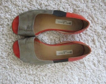 Betty Jackson Vintage Red and Brown Open Flats