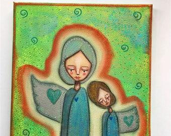A Pair of Aura Angels Art Work. Mixed media artwork. Original Art for Sale, Original Art Work, Fine Art, Original Painting, Gift Women