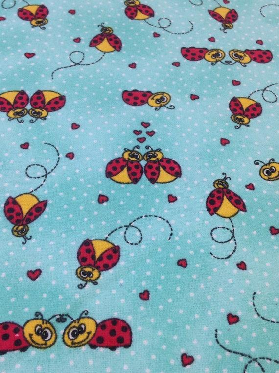 Ladybug flannel fabric flannel by the yard lady bug for Children s flannel fabric by the yard
