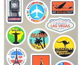 Travel Sticker Decorative Sticker Laptop Suitcase Sticker Masking Sticker - 1 Sheet 12 Pcs