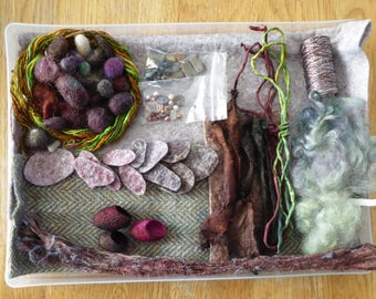Hope jacare - Creativity pack  - hand dyed threads, fabric and other goodies - CP32