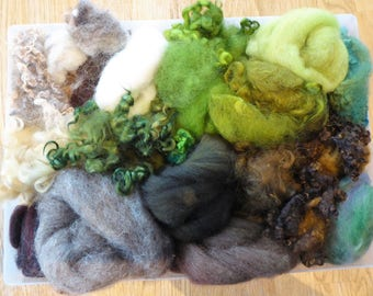 Hope Jacare - Mixed wool pack- custom blended top -  155g hand dyed top and fleece  - MWP09