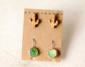 Saguaro Earring Set - Green Druzy Mini Cactus
