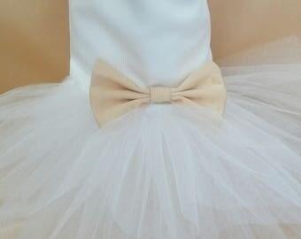 Dog White Wedding Dress with gold bow, Dog.  White and Gold Wedding Tutu Dress -  White Tulle Bridesmaid Dog Dress Tutu