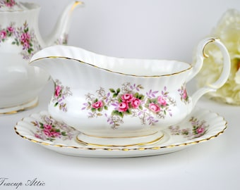 Royal Albert Lavender Rose Gravy Boat With Underplate, Vintage Replacement China, ca. 1961