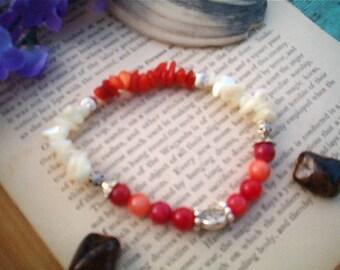 Beautiful Ankle Bracelet, Red Orange Quartzite & White Mother of Pearl,  Stretch Ankle Bracelet, Beaded, Statement Ankle Bracelet, Artisan