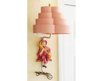 Asian Sconce Collapsible Topper Maroon Ceramic Figure Salmon Pink Plastic Shade
