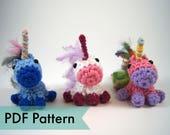 PDF Pattern for Crocheted Unicorn Amigurumi Kawaii Keychain Miniature Doll