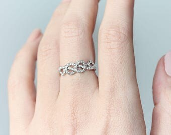 Love Knot Gold Ring, Curly Infinity Knot Diamond Ring, Unique Diamond Wedding Ring, Love Knot Diamond Rings, Delicate Thin Ring