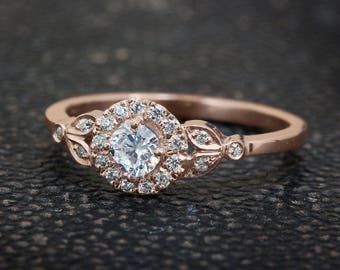 Leaf Engagement Ring, 18K Rose Gold Ring, Halo Ring, Art Deco Engagement Ring, Unique Rings, 0.45 CT Diamond Crown Ring.