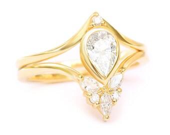 Pear diamond Bindi engagement ring with Cupid Butterfly side ring, diamond wedding rings set, bridal set