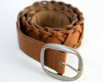 Vintage Women's Woven Distressed Faux Leather Belt Waist Large 36 38 40 42 FREE UK SHIPPING