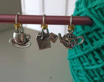 Tea Theme Knitting Stitch Marker Set of 3-Metal Knit Markers Fits to US10-Teapot-Tea Bag*Tea Cup Charms*Tea Time