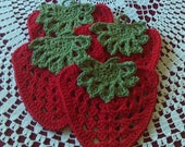 Set of 4,strawberries,pot holders,crocheted,gifts,kitchen,decor,door prizes,shower,home.
