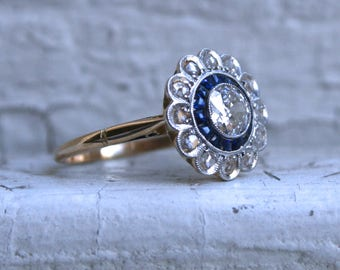 Antique 18K Yellow Gold Diamond and and Sapphire Cluster Ring Engagement Ring- 1.43ct.