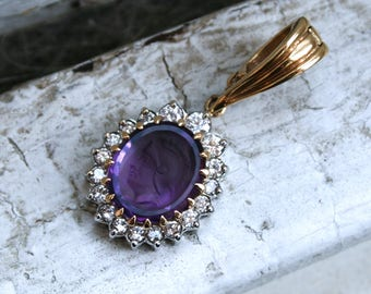 Vintage 14K Two Tone Gold Carved Amethyst Cameo and Diamond Pendant.