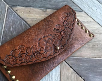 Leather wallet clutch-Milled leather-wallets-tooled leather-clutch