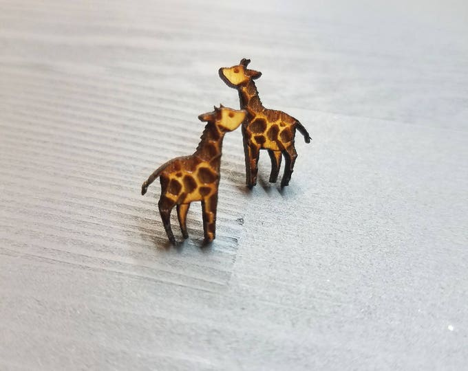 Giraffe Earrings | Laser Cut Jewelry | Hypoallergenic Studs | Wood Earrings