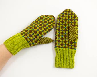 Hand Knitted Mittens - Light Green and Brown, Size Medium
