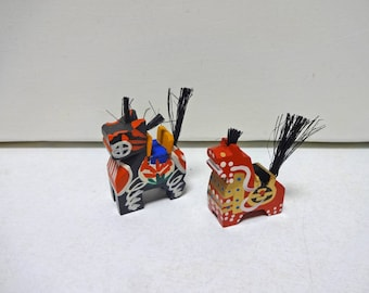 2pc Vintage Japanese Miniature Wood folk art of horse