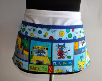 Pete the Cat Teacher apron, Preschool Teacher apron, Classroom utility apron, Teacher apron, Kindergarten teacher apron, apron for teachers
