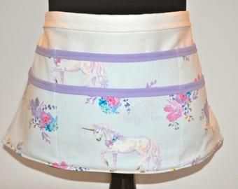 Unicorn Teacher apron, Utility Apron, Vendor Apron, Teacher Apron,  Floral apron, Blue apron, lavender teacher apron, Unicorn vendor apron