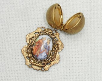 Two Golden Jewelry Making Findings - Ball Locket and Ornate Connector
