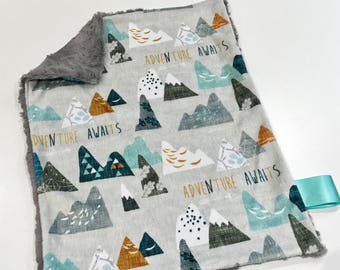 Mountains Baby Boy MINKY Lovey Blanket, MINI Minky Baby Blanket, Taggie Blanket, Adventure Awaits Earth Grey Lovey Blanket, Baby Shower Gift