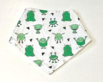 Green Cute Monsters Baby Boy Bandana Bib, Baby Boy Bandana Bib, Baby Bib, Summer Bib, Green Monsters Baby Bib