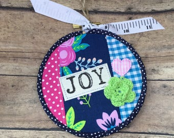 "4"" Fabric Handmade Hoop Art."