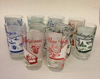 Vintage souvenir STATE GLASSES - 7 available