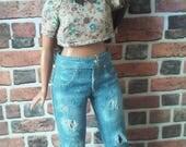 Distressed Denim Cuffed Jean for Curvy Barbie or similar size doll