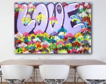 "Free Shipping Original 60"" x 40"" Love Flowers NYC art modern contemporary street art fine art peace acrylic spray paint large size colorful"