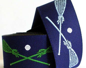 """Lacrosse Woven Ribbon - 1""""  Navy and Green and Lt. Blue"""