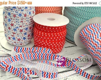 ON SALE CLEARANCE 2 or 5 Yard Increments - Patriotic 5/8 Inch Printed Fold Over Elastic - foe - Wholesale Supplies 4th Of July Red White Blu