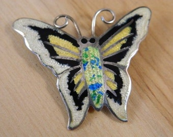 Sterling Silver and Enamel Butterfly Brooch, Vintage 1970s Taxco Jeronimo Fuentes Pin, Mexican Butterfly Pin, Taxco Mexico Silver Insect Pin