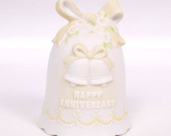 Vintage Lefton Bell Happy Anniversary The Christopher Collection Hand Painted Pastel Yellow Bow and Daises Porcelain Bisque