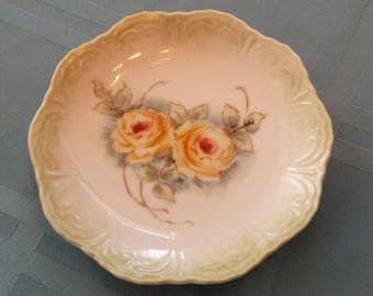 RARE Nancy Casterline Hand Painted Roses Small Plate Germany Bavaria 1960s