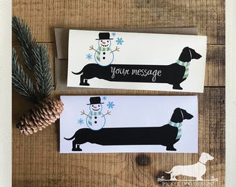 Winter Doxie. Note Card -- (Personalized, Holiday Card, Snowman, Christmas Card, Dachshund, Vintage-Style, Wiener Dog, Weiner Dog, Rustic)