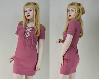 90s Rose Pink Ribbed Corset Front Mini Dress M