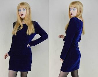 90s Navy Blue Velvet Longlseeve Mini Dress S