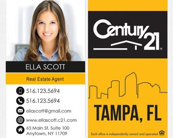 Century 21 real estate business cards - thick, color both sides - FREE UPS ground shipping